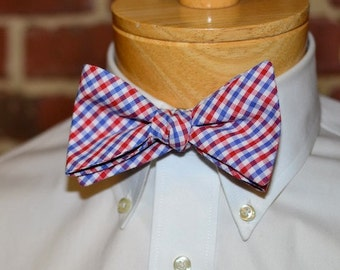 Red and Blue Tattersall Bow Tie~Mens Self Tie Bow Tie~Mens Pre-Tied~Anniversary Gift~HoBo Ties~Cotton Bow Tie~Wedding~Red White Blue