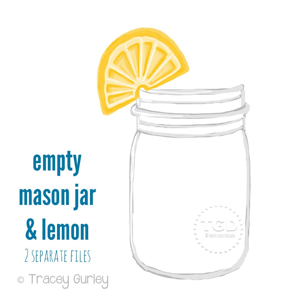 mason jar clip art mason jar with lemon invitation paper rh etsy com mason jar clip art free download mason jar clip art free