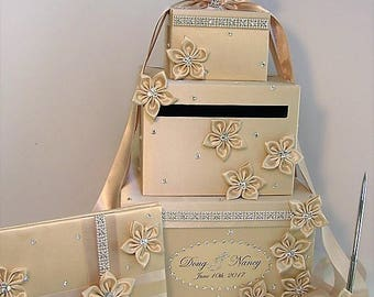 Wedding  Card Box, 4 Sets, 3 tier Champagne Card Box,Guest book and Pen/Pen Holder .Gift Card Box  Money Box Holder-Customize your color