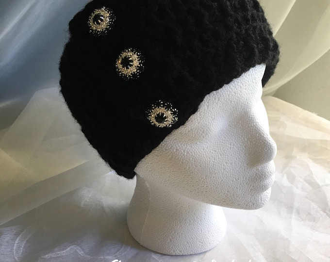 Black Crocheted Headbands-Women's Earwarmers -READY TO SHIP-Christmas Gift Ideas-Fall Hats-Jewelry Buttons-Girls Hairbands