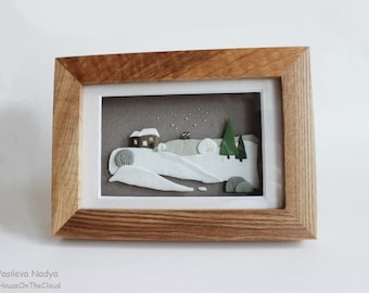 Winter landscape box frames 3D miniature  house green tree gift for lovers I Love you