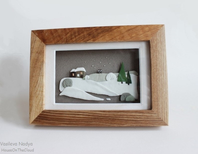 Winter landscape box frames 3D miniature house green tree