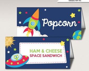 Instant Download - Editable Food Card Space Rocket Astronaut Birthday Party food label place card