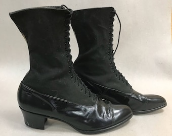 Edwardian Lace Up Boots 1910s Black Granny Shoes Size 6 1/2  NOS Deadstock