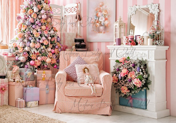Pretty French Pink Newborn Christmas Fireplace Christmas Tree ...