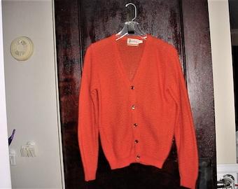 Vintage 60s Rust Orange Acrylic Knit Cardigan Sweater Mens XL Mister Rogers