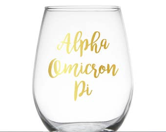 Alpha Omicron Pi Glass