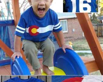 Personalizable Colorado Jersey Toddler Tee- This Handcrafted Colorado Flag Tee is Customizable for the perfect gift for your Colorado kid!