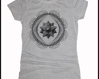 Women's TETRAHEDRON Platonic Solid Sacred Geometry Tessalation T Shirt