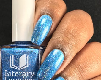 NEW! Curiouser and Curiouser - Blue Holographic Nail Polish - Alice in Lacquerland