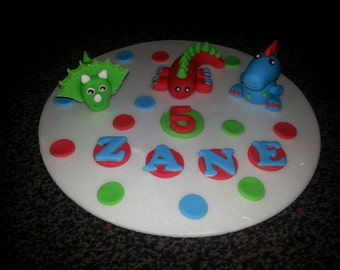 Edible dinosaur birthday * celebration* cake topper( 3 included) ANY COLOURS* personalised*