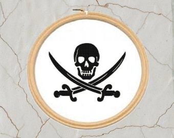 Pirate Cross stitch Pattern, PDF, DMC threads