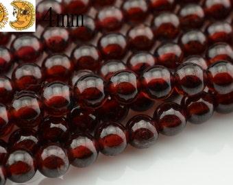 15 inch strand of Garnet smooth round beads 4mm