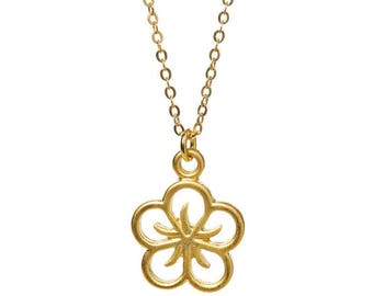 Rounded Lotus Outline Gold Necklace