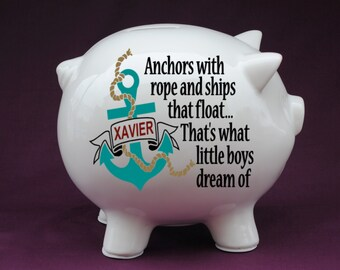 Anchor & Quote Personalized Piggy Bank with Vinyl Decal. Baby shower gift, new baby gift, Baby Boy Decor, Custom Piggy Bank, Nautical Nurser