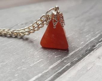 Handmade carnelian gemstone necklace