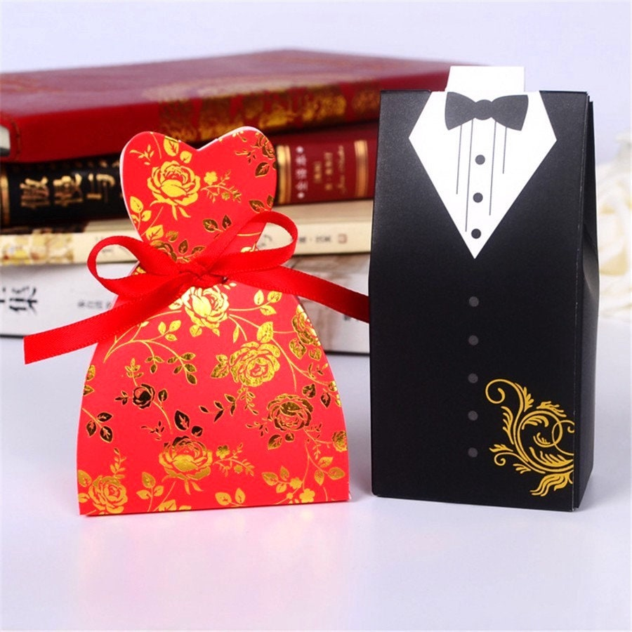 100 Bride and Groom Wedding Favor Boxes/Red Dress Sweetheart Cut ...