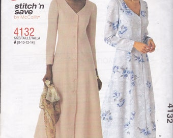 FREE US SHIP McCalls 4132 Stitch 'N Save Shirtdress Dress Uncut Out of Print Size 8 10 12 14 Bust 31.5 32.5 34 36  Factory Folded