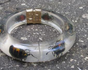 Vintage Lucite Beetle Bangle Bracelet hinged bracelet for easy wear