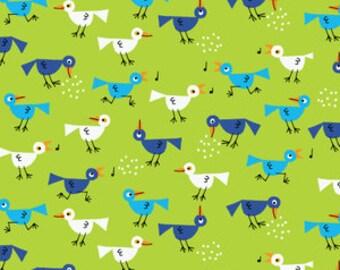 40% OFF SALE!  Happy Drawing Birds in Green - Organic Cotton - Cloud 9 Fabrics