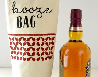 Booze Bag Recycled Canvas Hand-Stenciled Spirits Gift Bag