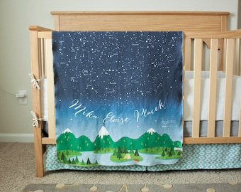 READY TO SHIP - Constellation Blanket / Crib Blanket / Baby Blanket -Constellation / Astronomy / Stars Blanket / Space Nursery / Baby Gift