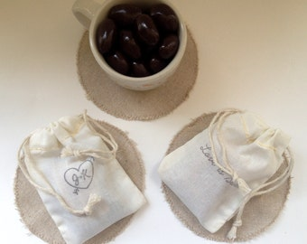 Love is Sweet.  Unique Chocolate Bridal Shower Favors. Set of 20 with Custom stamp. Rustic wedding gift.