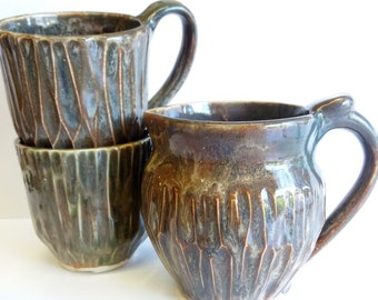 pitcher and cups set