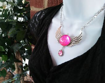 Pink Gem Wings Victorian Necklace, Handmade Glass Opalite Neon Pink, Renaissance Necklace, Color-Shift, Sailor Moon Inspired