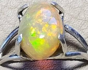 Ethiopian opal engagement ring, WELO fire opal engagement ring , rainbow opal and silver engagement  ring