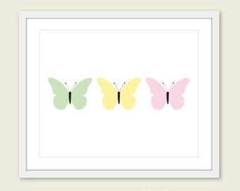 Pastel Butterflies Art Print - Baby Girl Nursery Art - Green yellow Pink Wall Art