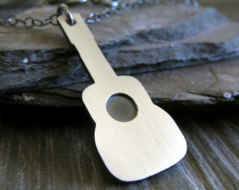 Acoustic guitar pendant necklace. Sterling silver classical jewelry. Music lover gift. Unique mens or womens necklace. Gift under 50.