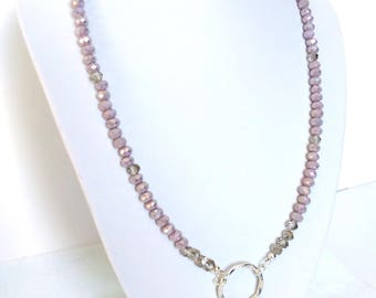 Dusty Rose Beaded Necklace, Mothers's Day Gift