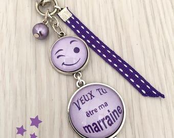 porte-clés bijou de sac a message , veux tu être ma marraine ? parme , violet .REF.20
