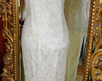 Vintage Stenay White Beaded Wedding Gown. Size 8