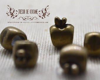 6pcs QZZ bead large hole, bronze, Apple, smile, heart, Star, flower