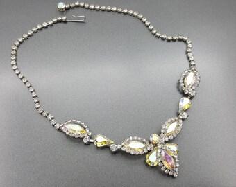 Sparkling Navette and Rhinestone Choker  Necklace Wedding Bride