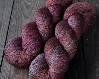 Hand Dyed Papiput Silky Merino Lace High Twist Yarn - Volturi