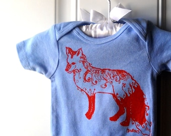 Red Fox Baby Onepiece, Baby Boy, Light Blue, Short Sleeved Cotton Infant Bodysuit, Nature, Woodland Animal, Forrest, Cute Critter, Clothing