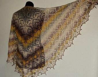 Knit shawl, hand knit shawl, lace shawl, triangular shawl, Lace Wool Shawl, Knitting Shawl, Hand Knitting, gift
