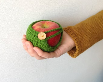 Crochet Apple Cozy - Green with Wooden Button