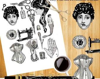 The Vintage Tattoo Printable Art Download,Vintage Collage sheet,Tattoo Girls Digital Collage,Retro Tattoo,tattoo print tattoo design