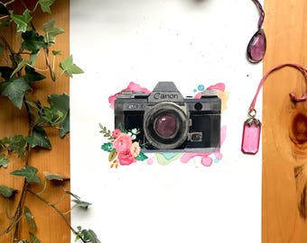 Vintage Camera Watercolor Painting / Flowers / Art