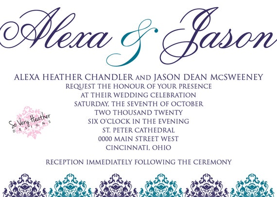 Wedding Invitations So Very Heather Designs