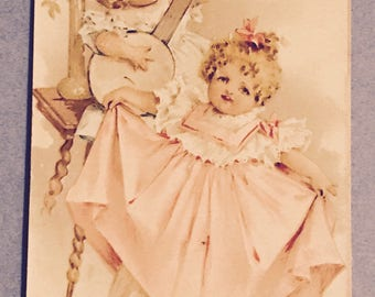 Victorian Trade Card 1800s, Cute Ltttle Vitorian Girls Dancing And Playing The Banjo, A Wonderful Antique Collectible