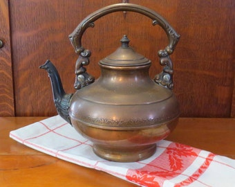 """Antique Copper Teapot Kettle Hinged Lid 9"""" Tall"""
