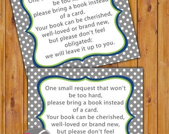 Baby Shower Book Card In Lieu of card Shower Invitation Inserts Instead of a card Grey Navy Green Polka Dots Printable PDF--Instant Download