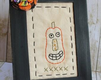 Halloween Fall Primitive Handmade  Framed Pumpkin Stitchery
