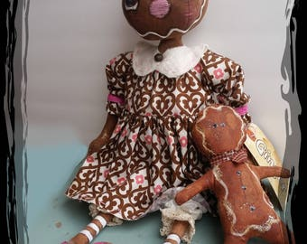 Ginger Bread Primitive Doll Pattern /Holiday Pattern/ EPattern/Rag Dolls/ Primitive Dolls /Primitive Cloth Doll Pattern/Gingerbread Ornament