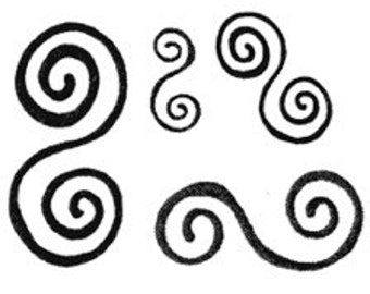 Unmounted Rubber Stamps Set of Four Double Spirals